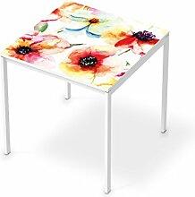 Sticker Möbel für IKEA Melltorp Tisch 75x75 cm | Möbelfolie Klebetapete Folie Aufkleber Möbel folieren | kreativ einrichten Wohnzimmer-Möbel Deko Artikel | Design Motiv Water Color Flowers