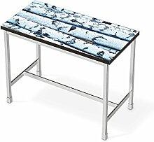 Sticker Möbel für IKEA Utby Bartisch 120x60 cm | Möbelfolie Klebetapete Folie Aufkleber Möbel folieren | kreativ einrichten Wohnzimmer-Möbel Deko Artikel | Erholung Wellness Weisses Buschwerk