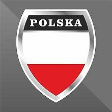 Sticker Polonia Poland Pologne Polen - Decal Cars Motorcycles Helmet Wall Camper Bike Adesivo Adhesive Autocollant Pegatina Aufkleber - cm 16