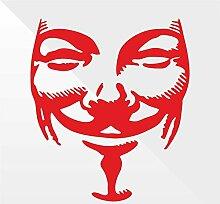 Sticker V for Vendetta Rosso Red Rouge Rojo Rot -