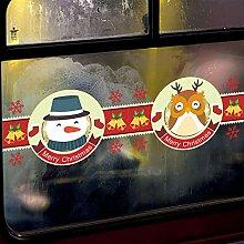 Sticker Wandew Jahr Weihnachten Schneemann Elch