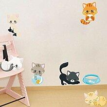 Sticker Wandfarbe Katze Wandaufkleber Kinderzimmer