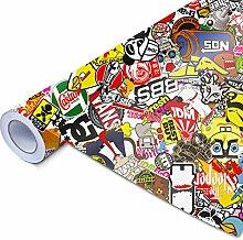 Stickerbomb Auto Folie: Alle Größen - eine Auktion - Marken Sticker Bomb Logos- JDM Aufkleber (800x150cm, Design: Neu - bunt glänzend)