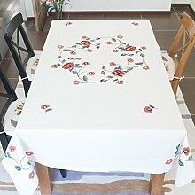 Stickerei Baumwolle Tischdecke Stoff/Tischdecke decke/ runden die Wohnzimmer-Tischdecke/ European-Style garden Party Tischdecke-B 160x110cm(63x43inch)
