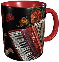 Stickerei Engel Akkordeon und Rosen Blumen Muster