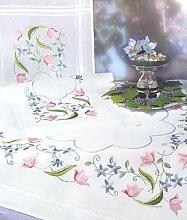 Stickerei-Set Tischdecke mit Blumenmotiv, 80 x 80 cm