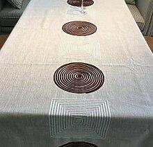 Stickerei Tischdecke Volltonfarbe Modern Minimalistischen Couchtisch Abdeckung Handtuch Rechteckigen Stoff Blended Fabric Round Table Tischdecke,100*140Cm