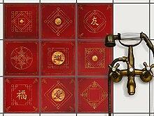 Stickerfliesen für Küche u. Bad | Deko Fliesen-Aufkleber für Fliesenspiegel | Selbstklebende Dekor Klebe-Folie für Fliesen - einfach anzubringen | 20x20 cm - Motiv Chinese Tiles - 36 Stück