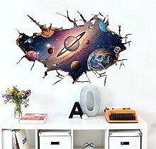Stickerkoenig Wandtattoo Wandsticker 3D Wanddurchbruch Universum II Weltall Kinderzimmer bunt druck Aufkleber