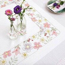 Stickpackung Tischdecke Blütenkante, Kreuzstich