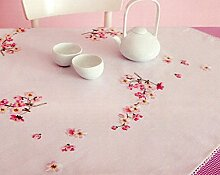 Stickpackung Tischdecke Kirschblüten, Plattstich vorgezeichne