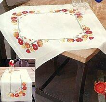 Stickpackung Tischdecke Mohnblüten, Kreuzstich vorgezeichne