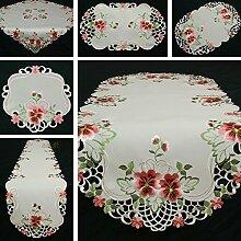 Stiefmütterchen Tischläufer/Tischdecke Weiß mit rosa Blumen Stickerei - Größe wählbar (ca. 45 x 110 cm Oval)
