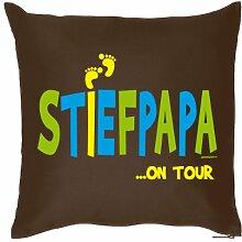 STIEFVATER VERSTEHER Herren Geschenkidee STIEFPAPA …on tour - Kissen mit Innenkissen - Papa Geschenk zum Geburtstag Weihnachten Patchwork Vater - Deko u Nutzkissen 40x40cm braun : )