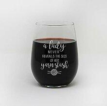 Stielloses Weinglas Strickgarn Stash Weinglas