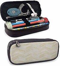 Stift- und Federmäppchen aus beigem Leder mit