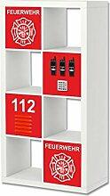Stikkipix Feuerwehr Möbelfolie | ER32 | Aufkleber-Set passend für das Regal EXPEDIT/KALLAX von IKEA (Möbel nicht inklusive)