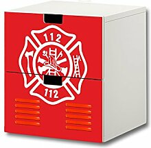 Stikkipix Feuerwehr Möbelsticker/Aufkleber - S2K21 - Passend für die Kinderzimmer Kommode mit 2 Fächern/Schubladen STUVA von Ikea - Bestehend aus 2 passgenauen Möbelfolien (Möbel Nicht Inklusive)