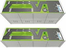Stikkipix Flughafen Möbelfolie | KSWL11 | passend für das Regal KALLAX von IKEA - (Möbel nicht inklusive)