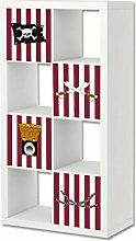 Stikkipix Piraten Möbelfolie | ER31 | Aufkleber-Set passend für das Regal EXPEDIT/KALLAX von IKEA (Möbel nicht inklusive)