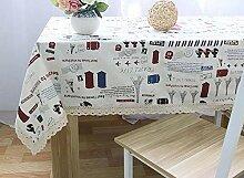 Stil Leinen Tischdecke Mit Spitze Handtuch Druck