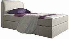 Stilea Boxspringbett 90x200 mit Topper, Bonell-Matratze H3 fest, Webstoff Beige, Bett Liegefläche 90 x 200 cm