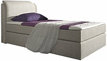 Stilea Boxspringbett 90x200 mit Topper, Box Bonell-Bonell-Federkern Matratze H3 fest, Webstoff Beige, Bett Liegefläche 90 x 200 cm