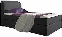 Stilea Boxspringbett 90x200 mit Visco Memory Topper 6 cm, 7-Zonen Taschenfederkern Matratzen H2 weich, Webstoff Anthrazit, Bett Liegefläche 90 x 200 cm