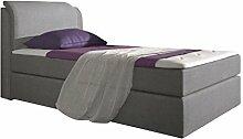 Stilea Boxspringbett 90x200 mit Visco Memory Topper 6 cm, 7-Zonen Taschenfederkern Matratzen H2 weich, Webstoff Grau, Bett Liegefläche 90 x 200 cm