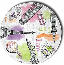 Stilia Fußmatte, rund, Bedruckt, Modell Travel,
