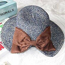 Stilvolle Bow Tie Strohhut Sonnenschutz Hut, Sonnencreme Sommer Resort Sun Hüte weibliche strand fischer Kappe, M (56-58 cm) Dunkelblau