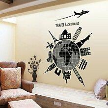 Stilvolle Global Reisen Wandtattoo House Aufkleber abnehmbarer Wohnzimmer Tapete Schlafzimmer Küche Art Bild Wandmalereien Sticks PVC Fenster Tür Dekoration + 3D Frosch Auto Aufkleber Geschenk