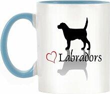 Stilvolle Herz Labrador Design bicolor Becher mit Henkel Hellblau & Innen