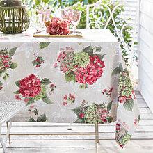 Stilvolle Leinen-Tischdecke mit romantischem