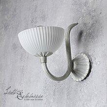Stilvolle Wandleuchte Glas Metall Weiß Gold