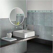 Stilvoller Badezimmer-Spiegel Kosmetik-Spiegel Wand-Wandspiegel für Badezimmer Runder Toiletten-Spiegel Nordic dekorative Wasch-Spiegel Hanging Spiegel ( Color : Weiß , Size : 50cm(19.6 inches) )