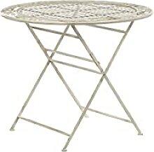 Stilvoller Gartentisch Metall cremeweiß rund