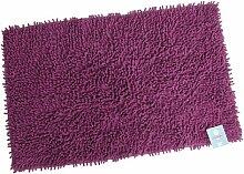 Stilvolles Chenille Badvorleger Set – Shaggy Style – Handgearbeitet | 60 x 100 cm | LILA | 100 % saugstarke Baumwolle | schwere 1600 g/m² | Badteppich | Badvorleger | Badematte von der edlen Marke Pink Papaya | in kräftigem lila