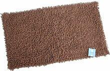 Stilvolles Chenille Badvorleger Set – Shaggy Style – Handgearbeitet | 50 x 80 cm & 60 x 100 cm | BRAUN | 100 % saugstarke Baumwolle | schwere 1600 g/m² | Badteppich | Badvorleger | Badematte von der edlen Marke Pink Papaya | in schönem braun