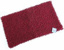 Stilvolles Chenille Badvorleger Set – Shaggy Style – Handgearbeitet | 50 x 80 cm & 60 x 100 cm | ROT | 100 % saugstarke Baumwolle | schwere 1600 g/m² | Badteppich | Badvorleger | Badematte von der edlen Marke Pink Papaya | in kräftigem ro