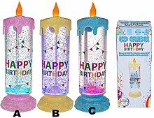 Stimmungsvolle XL - LED / Liquid / Glitter - Effekt - Kerze perfekt zum Geburtstag und jedem feierlichen Anlass - Dekoration mit wundervollem Glitter - Farben- Wechsel - ein bezaubernder Blickfang in jedem Raum - wundervolle bunt glitzernde Dekoration für jeden fröhlichen Anlass - der Hammer auf jeder Party (C - Blau)