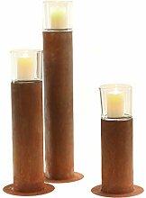 Stimmungsvolles Garten-Windlicht Garten-Fackel Kerzen-Ständer Metall Edelrost mit Glasaufsatz (M)