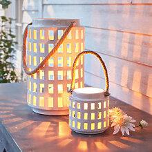 Stimmungsvolles Keramik Windlicht mit Kordel