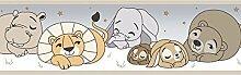Stirnband Tapete selbstklebend für Kinderzimmer Tiere Farben Taupe, braun, creme 591–3treboli