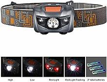 Stirnlampe LED Kopflampe LED Headlamp, 4 Modi Outdoor Taschenlampe mit Dimmbare Weißlicht Stetig Rotlicht Einstellbar Leichte für Camping Wandern Fahrrad Laufen Angeln