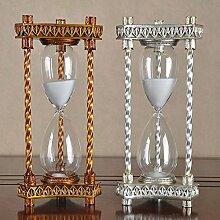 STJK$BMJW Metall Harz Sanduhr Sanduhr Dekoration Dekoration Hochzeit Geschenk Für 60 Minuten, Silber Trompete
