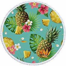 STJZXHN Rund Strandtuch,Obst Ananas Pflanze Blume