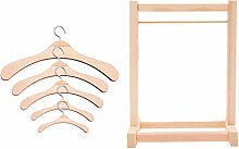 STOBOK 1 Set Holzpuppen Kleiderbügelregal
