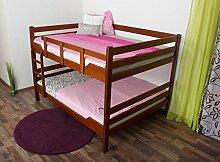 Stockbett für Erwachsene Easy Premium Line K16/n, Kopf- und Fußteil gerade, Buche Vollholz massiv Kirschrot - Liegefläche: 160 x 200 cm, teilbar