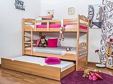 Stockbett mit Bettkasten Easy Möbel K11/h inkl. Liegeplatz und 2 Abdeckblenden, Kopf- und Fußteil mit Löchern, Buche Vollholz massiv Natur - Maße: 90 x 200 cm, teilbar